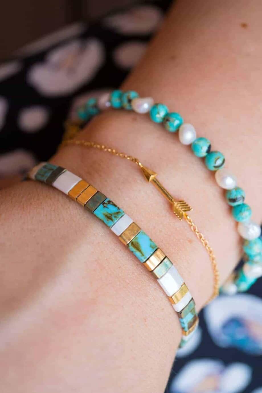 Handgemaakte Miyuki armband 'Miyuki Ocean Breeze'