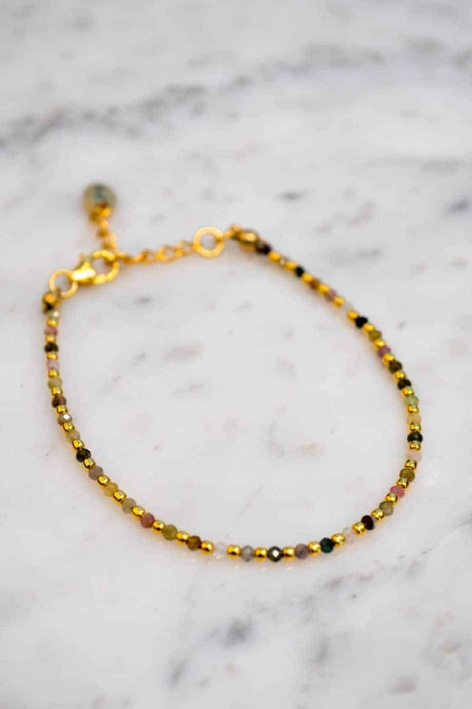 Handgemaakte Gouden armband met Toermalijn