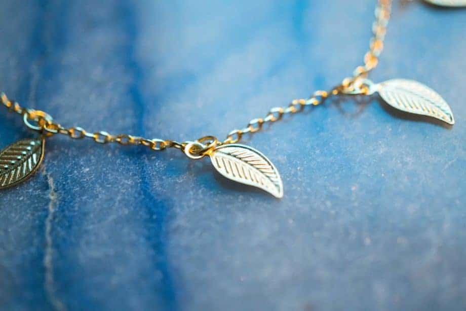 Gouden enkelbandje 'Golden leaves' van Goud Vermeil
