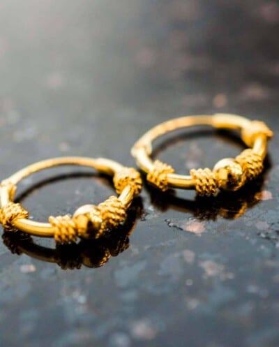 'Bali Double Rope' Gouden oorbellen