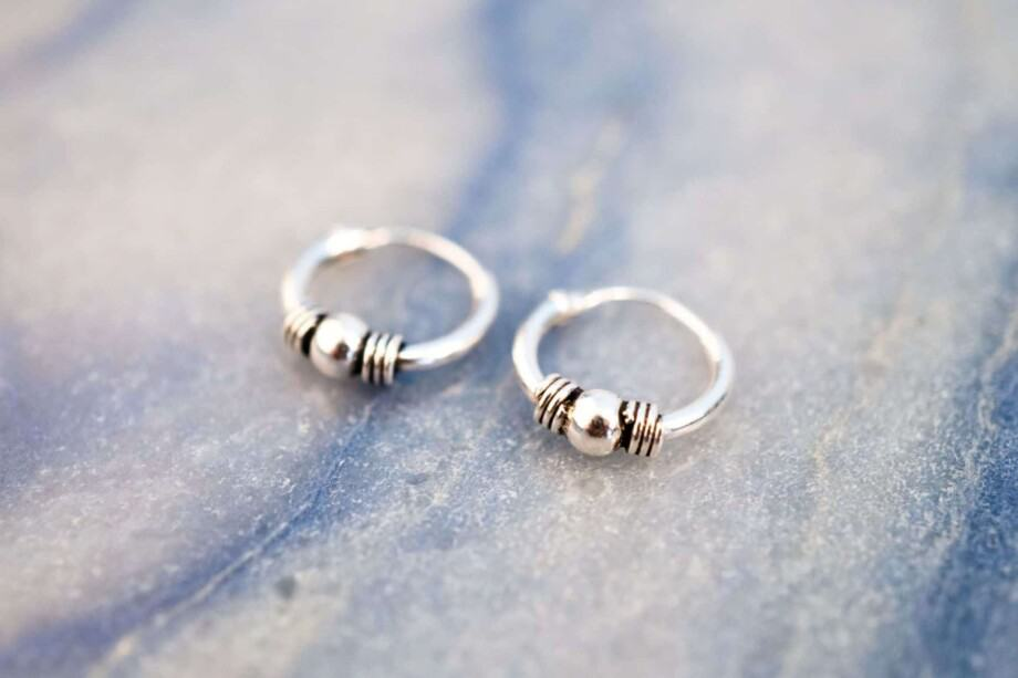 'Bali Stripe' Sterling zilveren oorbellen 10 mm