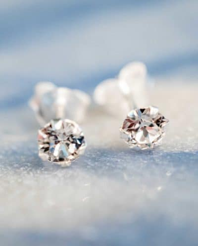 'Big Crystal studs' oorbellen Sterling Zilver