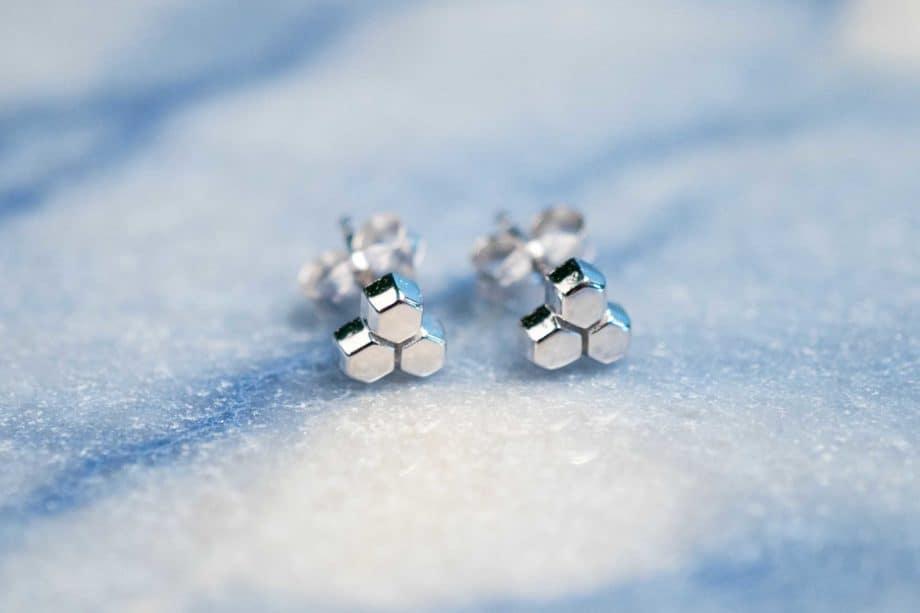 Sterling Zilveren 'Honeycomb' oorbellen