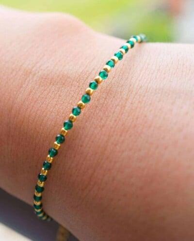 Handgemaakte Gouden armband met Spinel edelsteen kralen