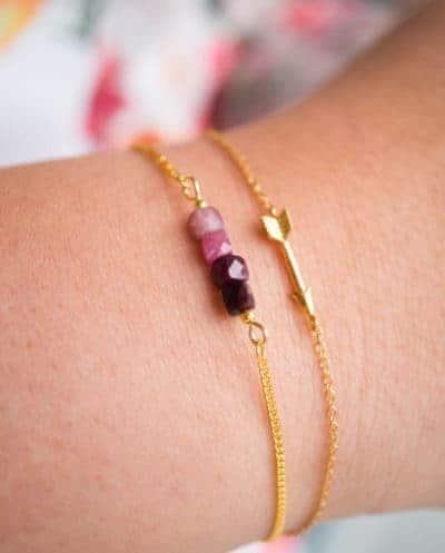 Handgemaakte Gouden armband edelsteen Toermalijn