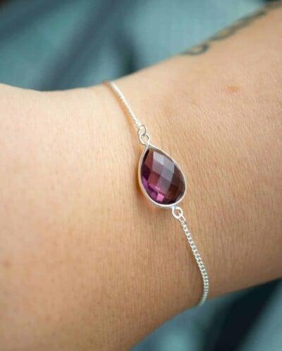 Handgemaakte Zilveren armband met paarse Amethist edelsteen van Sterling Zilver