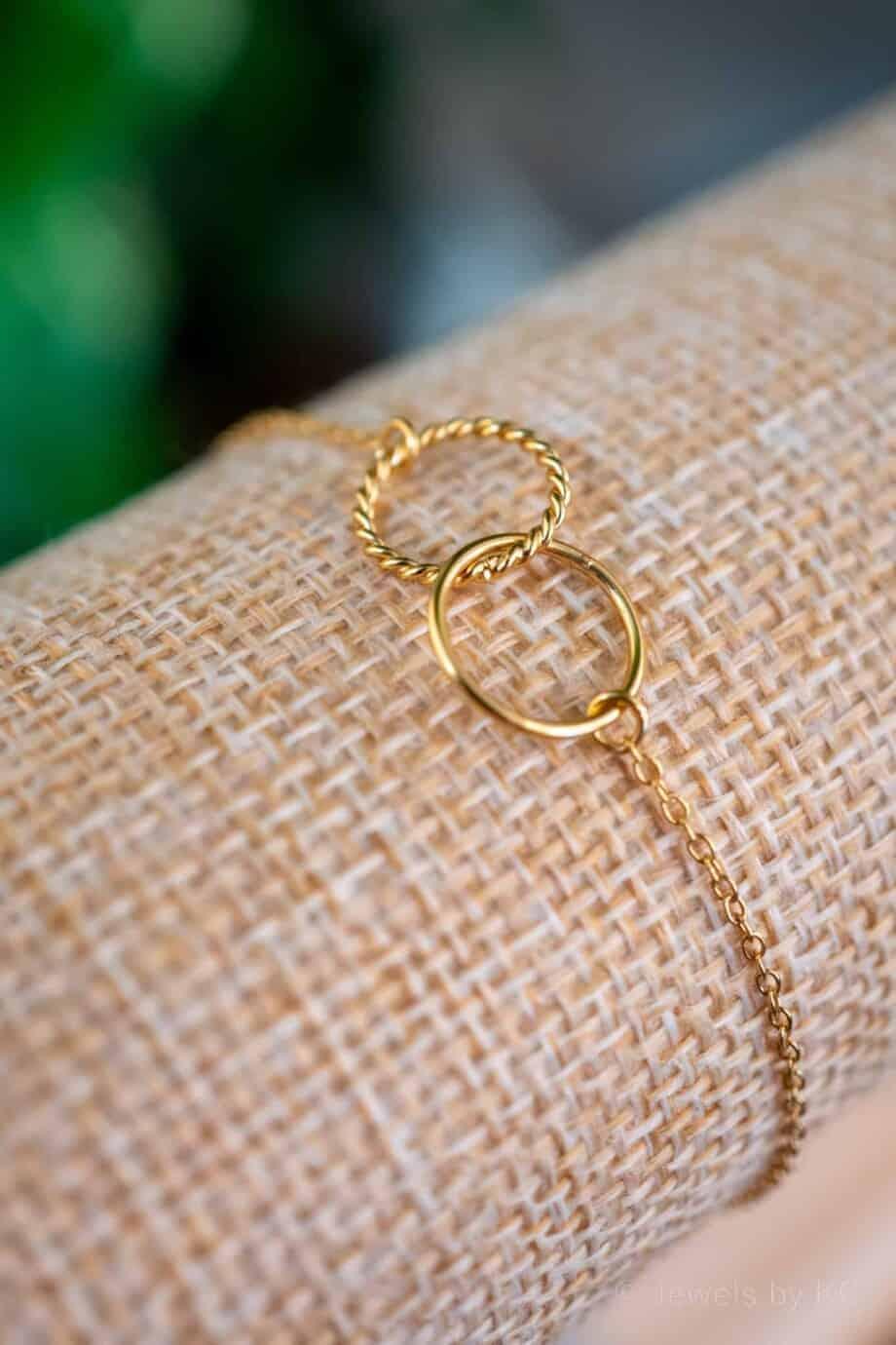Gouden armband 'Linked circles' van Goud op Zilver