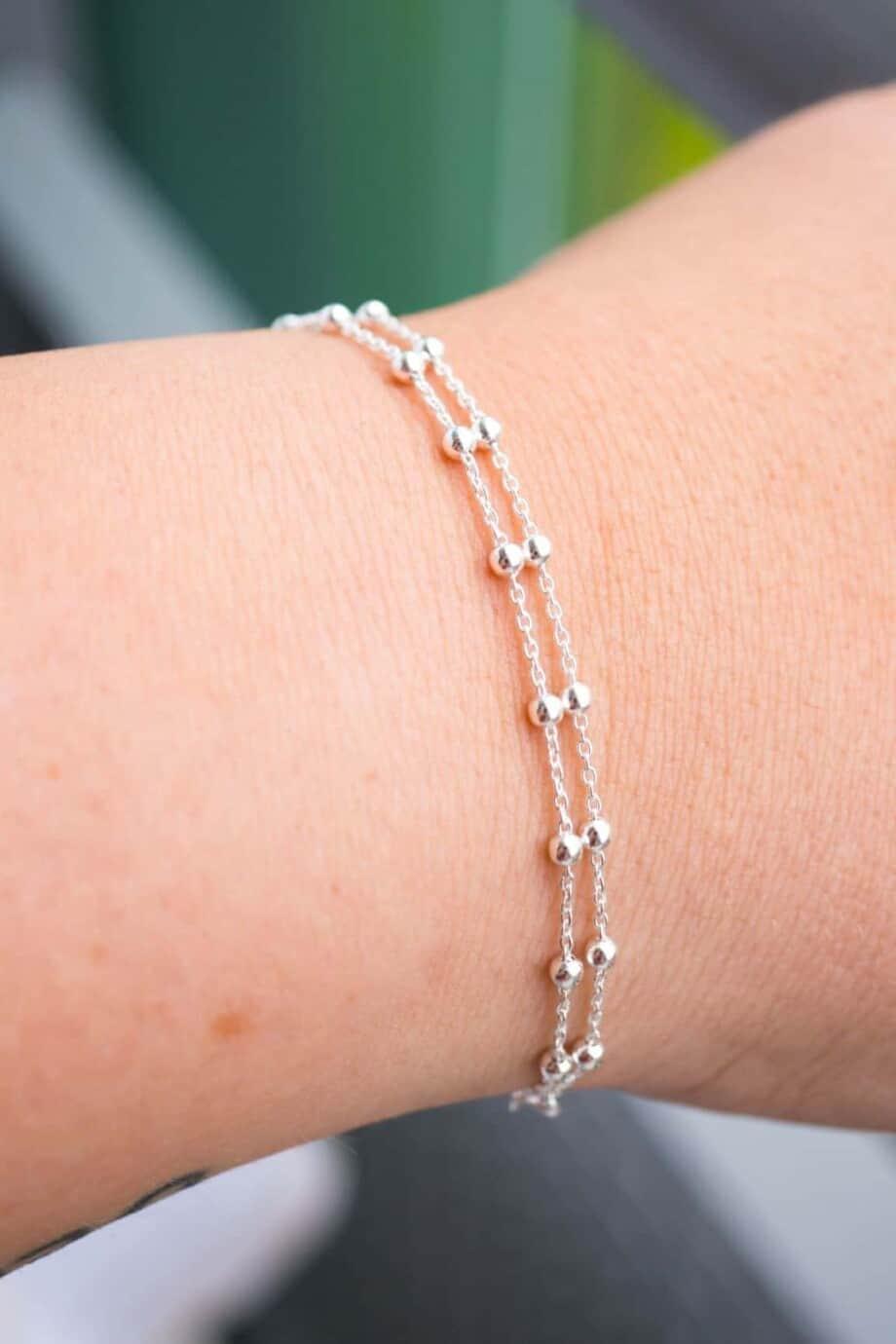 Zilveren armband 'Double satellite'