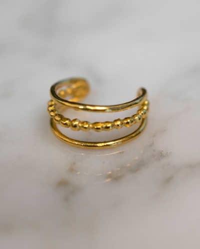 Layered gelaagde Gouden ear cuff van Goud op Zilver