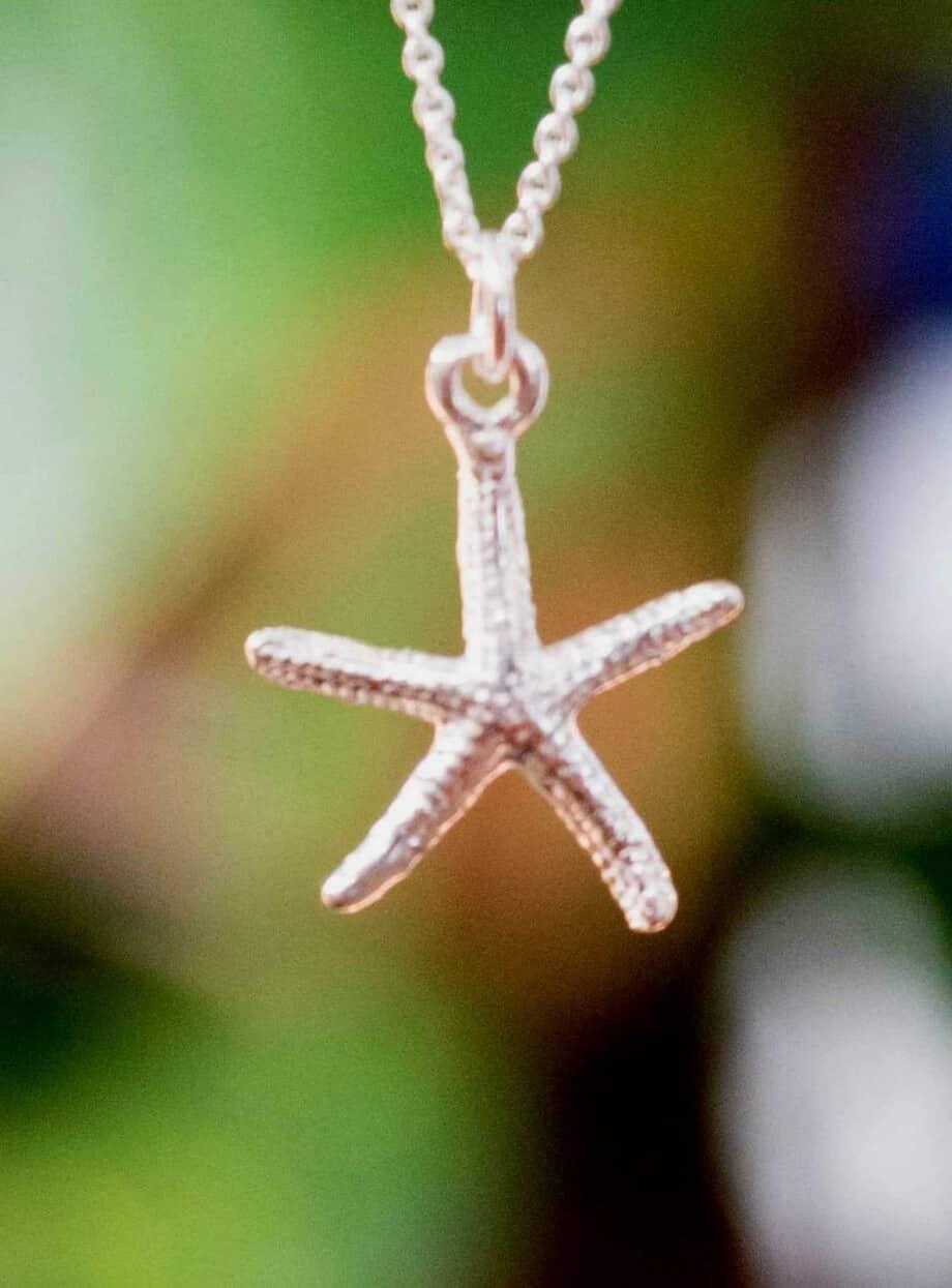 Sterling Zilveren ketting met zeester hanger
