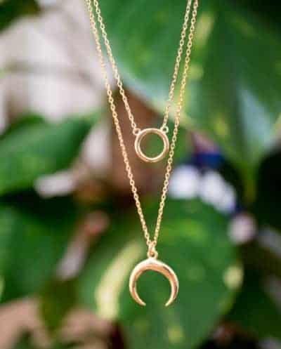 Gouden kettingen met hangers 'Double necklace' van Goud op Zilver