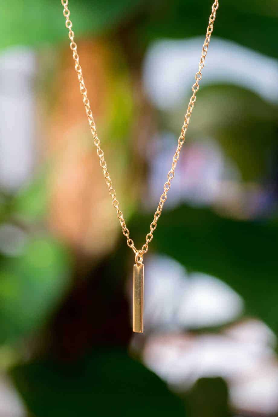 Gouden ketting met hanger 'Bar' van Goud op Zilver