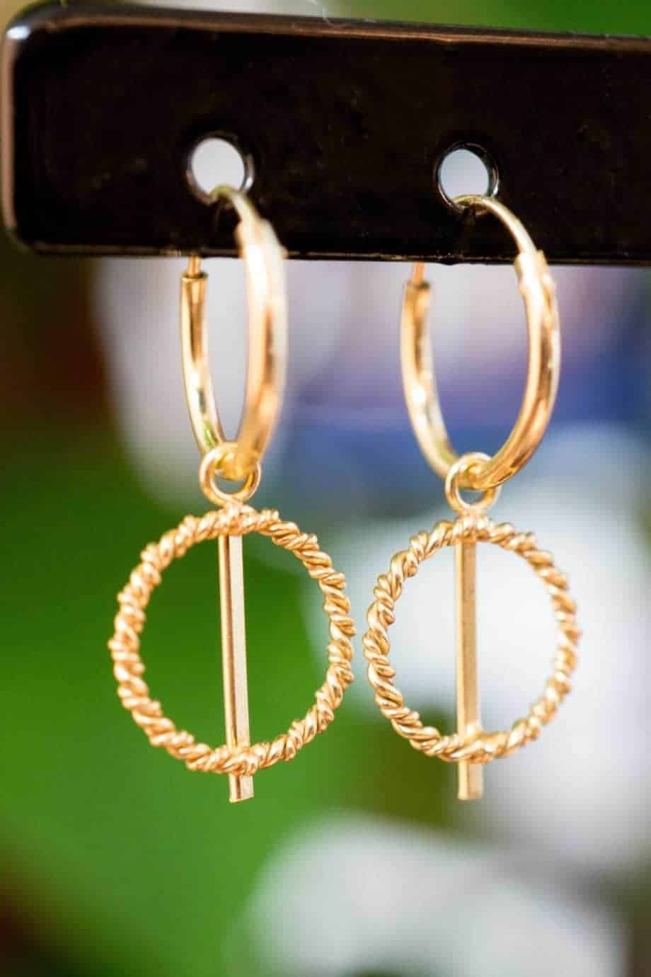 Gouden oorbellen 'Cable Hoops' van Goud Vermeil