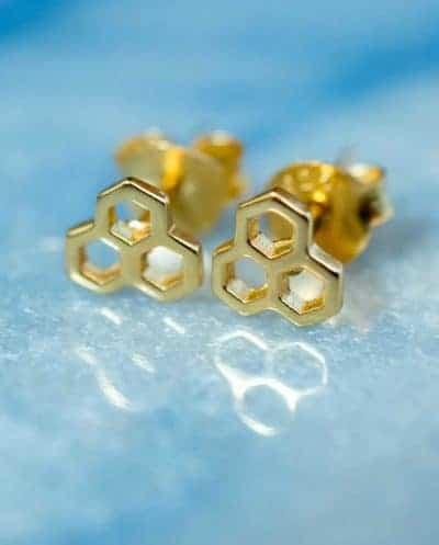 Gouden oorbellen 'Honeycomb' van Goud Vermeil