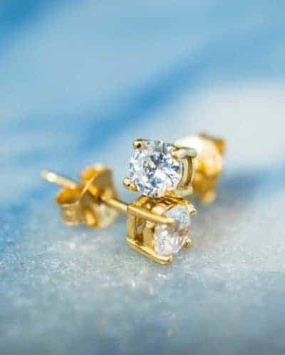 Gouden oorbellen met kristal 'Crystal' studs