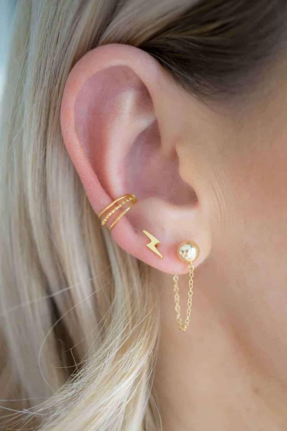 Gouden oorbellen 'Ball and chain' van Goud Vermeil