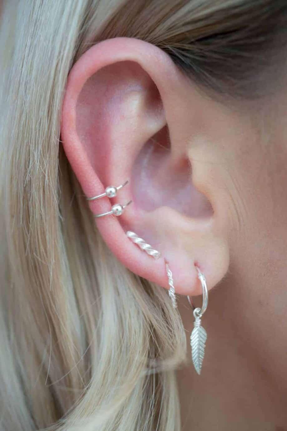 Sterling Zilveren 'Twisted Bar' oorbellen