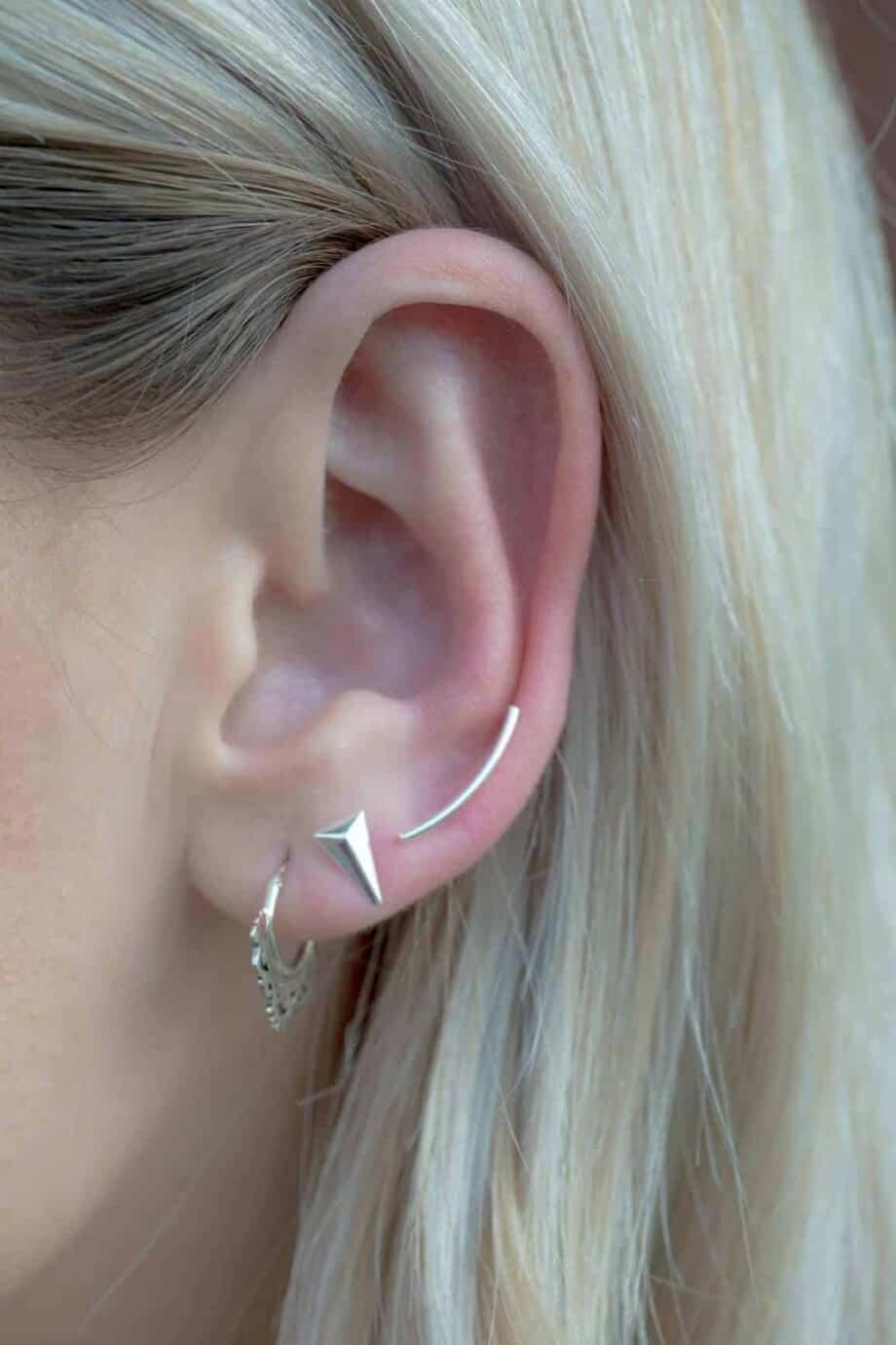 Zilveren 'Curvy' oorbellen