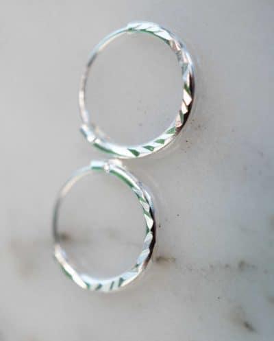 Zilveren 'Diamond Hoops' oorbellen