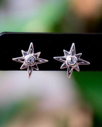 Zilveren 'Crystal Star' oorbellen