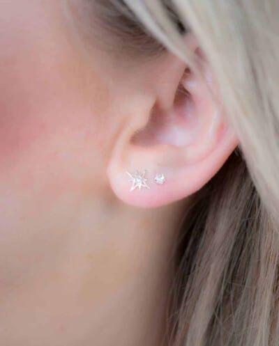 Zilveren 'Crystal studs' oorbellen