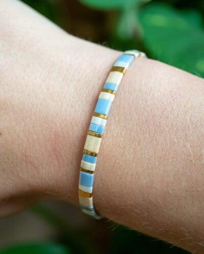 Handgemaakte Miyuki armband 'Miyuki Pastel Blue'
