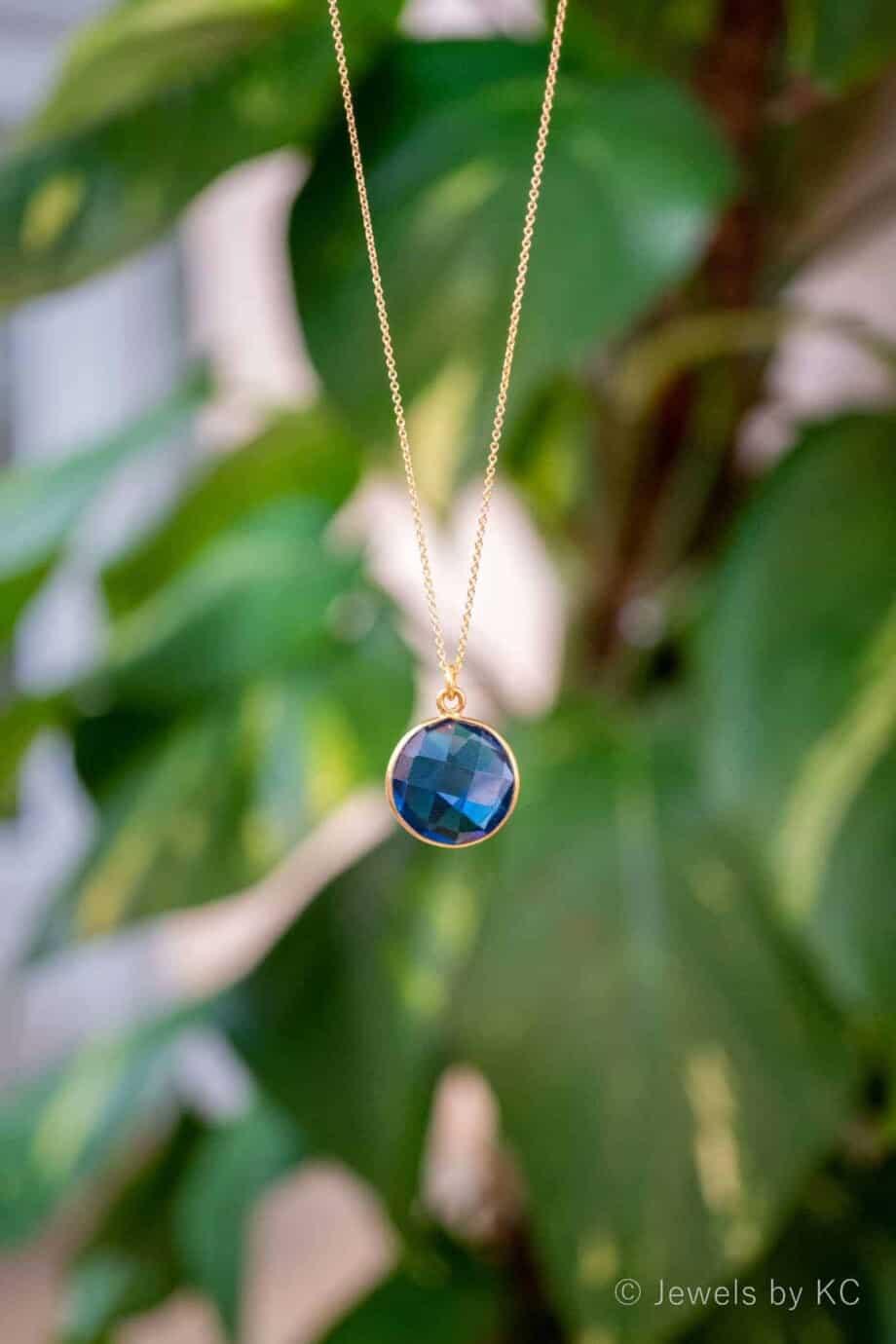 Handgemaakte Gouden Ketting met edelsteen Blue-Iolite