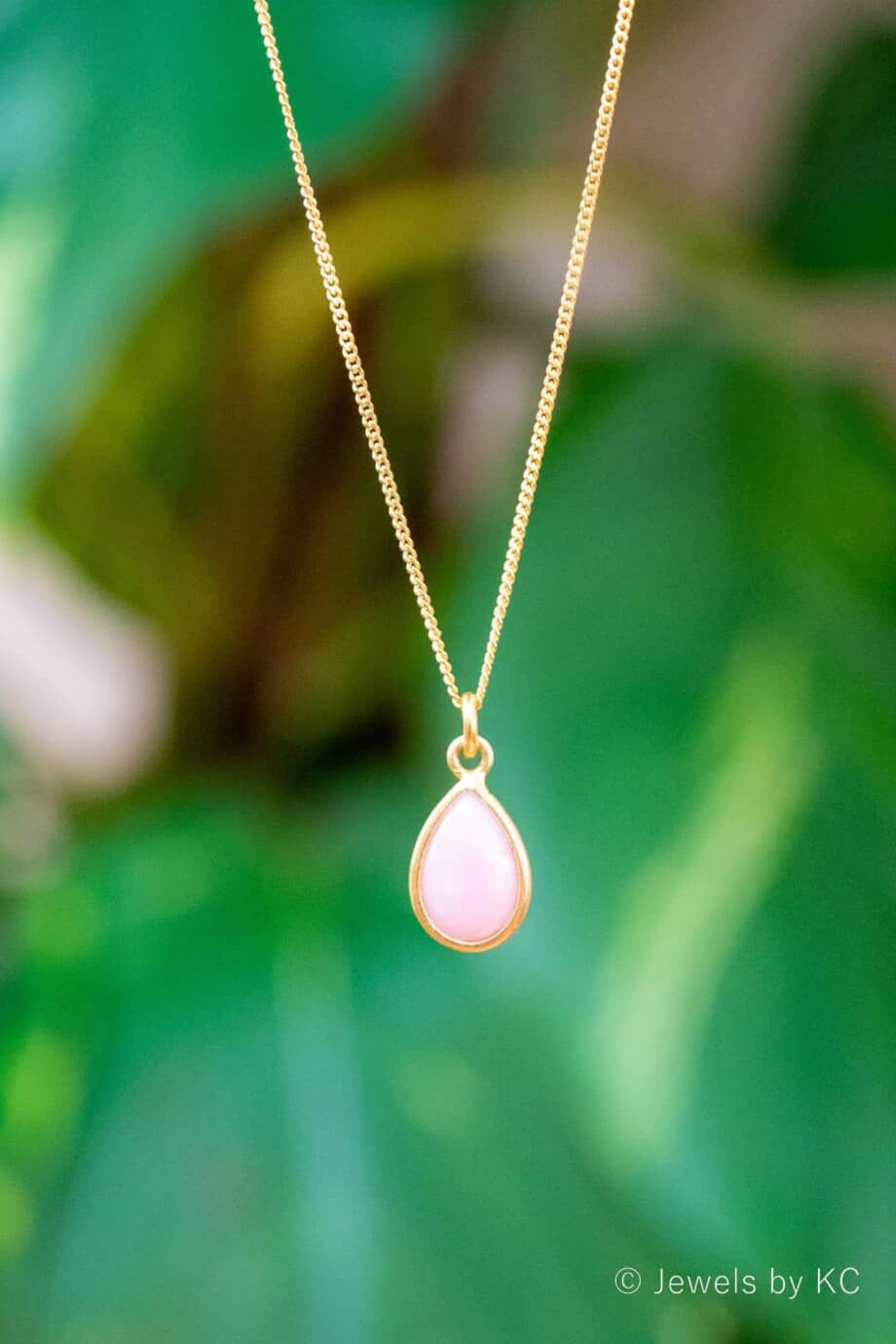 Handgemaakte Gouden ketting Pink Opal