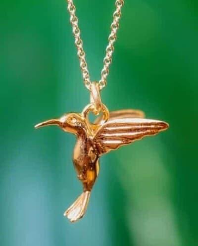 Gouden ketting met hanger Hummingbird-Kolibrie