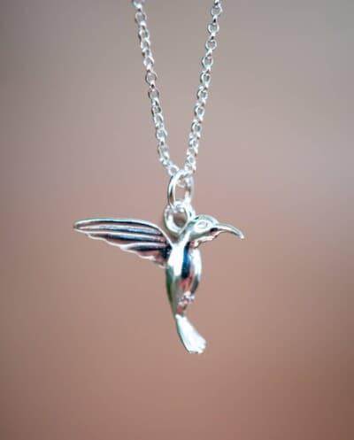 Zilveren ketting met hanger 'Hummingbird' Kolibrie vogel van Sterling Zilver