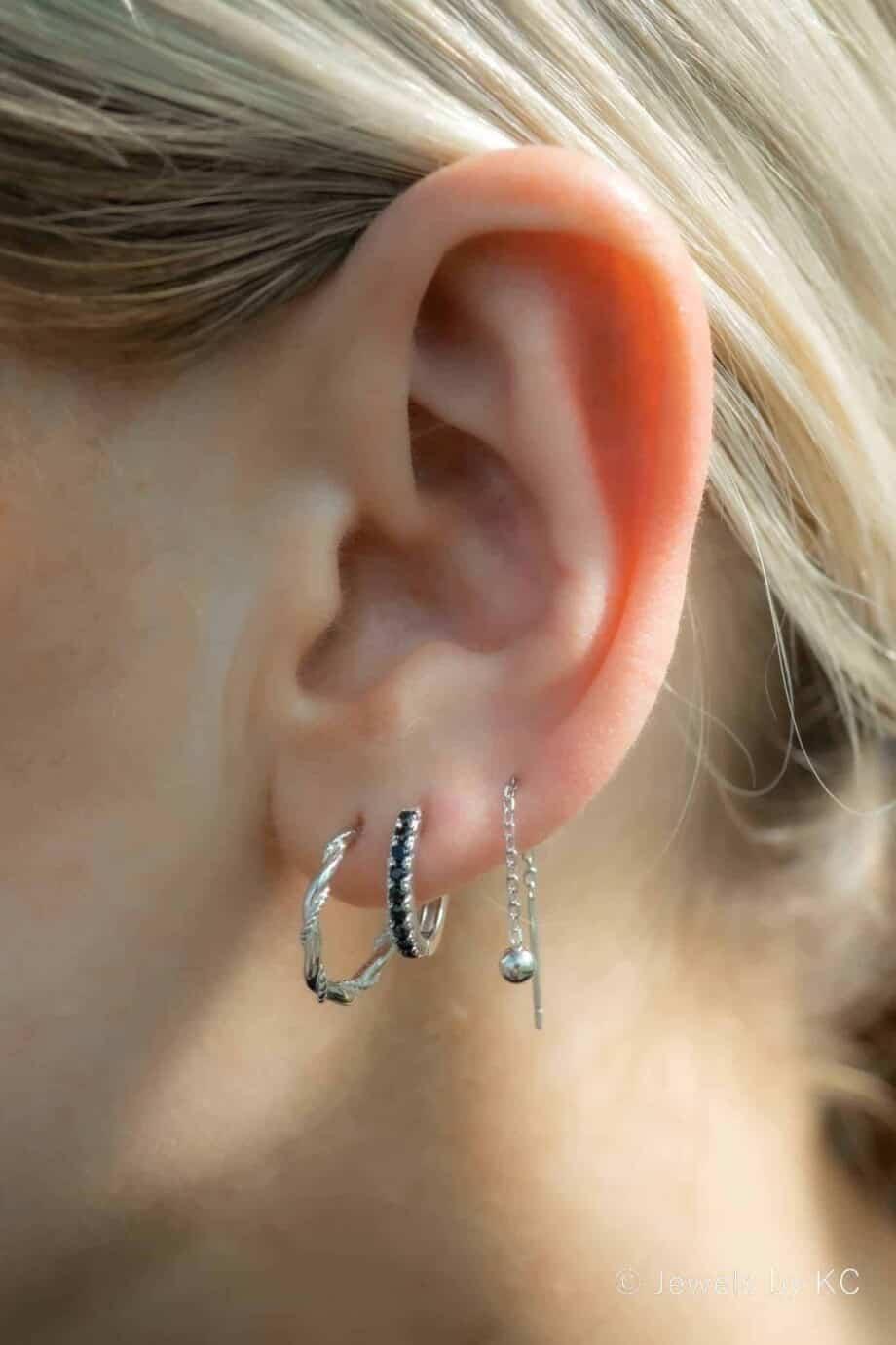 Zilveren oorbellen Threader Bead van Sterling Zilver