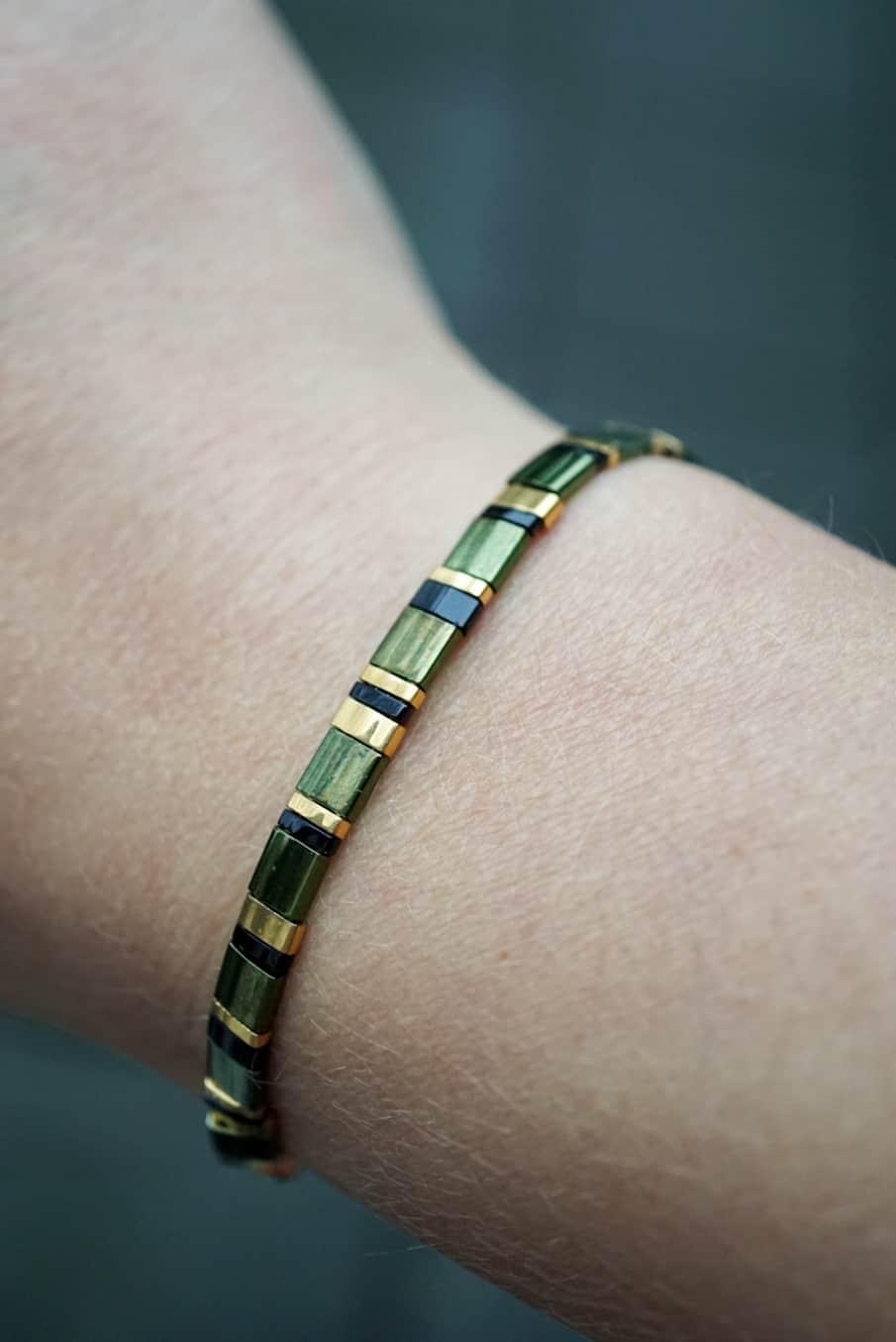 Handgemaakte Miyuki Tila armband 'Olive Green'