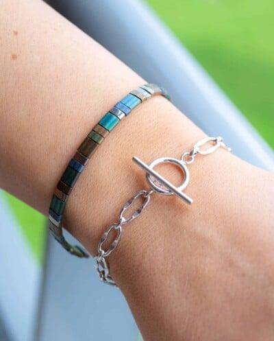 Zilveren armband 'Chunky Bracelet' Miyuki Tila armband