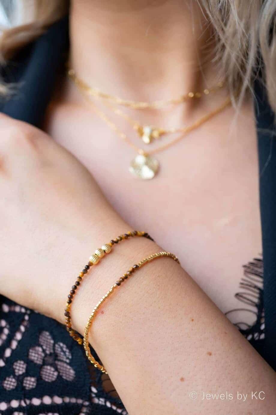 Gouden edelsteen Armband 'The eye of the tiger' van Goud op Zilver
