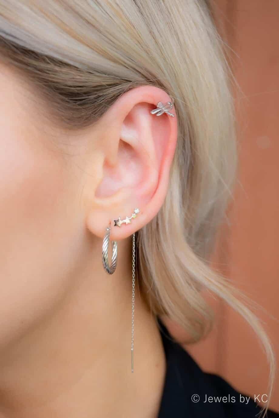 Zilveren ear cuff 'Rhinestone Dragonfly' van Sterling Zilver