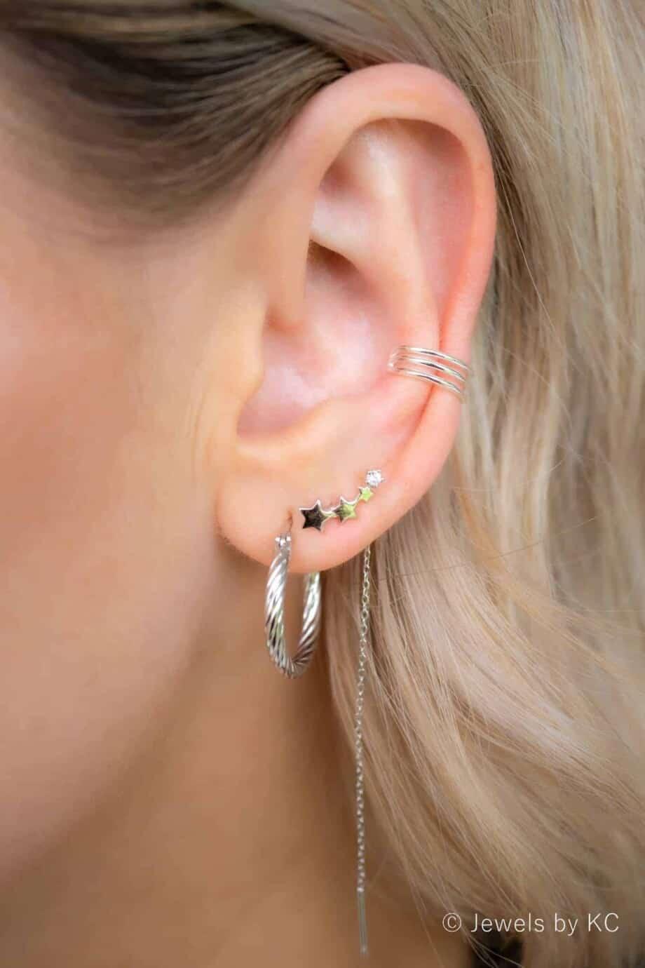 Zilveren ear cuff 'Triple' van Sterling Zilver
