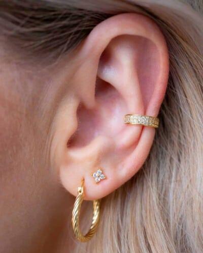 Gouden ear cuff 'Zirkonia bling' van Goud op Zilver