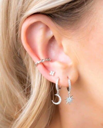 Zilveren oorbellen 'Sparkle Flower' stud van Sterling Zilver