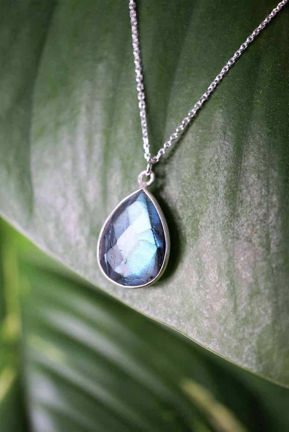 Zilveren ketting met edelsteen blauwe Labradoriet van Sterling Zilver