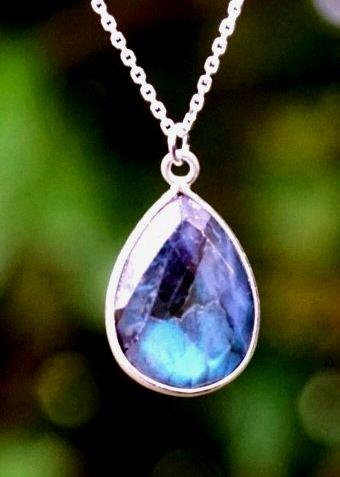 Zilveren ketting met edelsteen hanger blauwe Labradoriet van Sterling Zilver