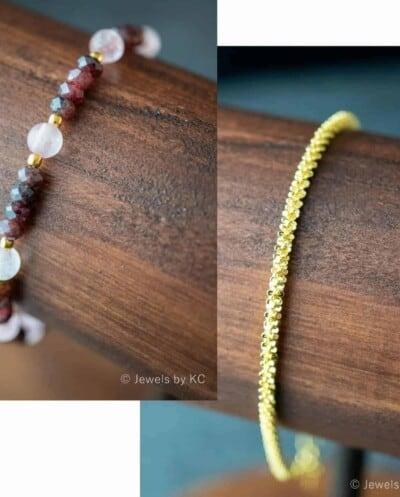 Gouden edelsteen sieraden set armbanden van Goud op Zilver