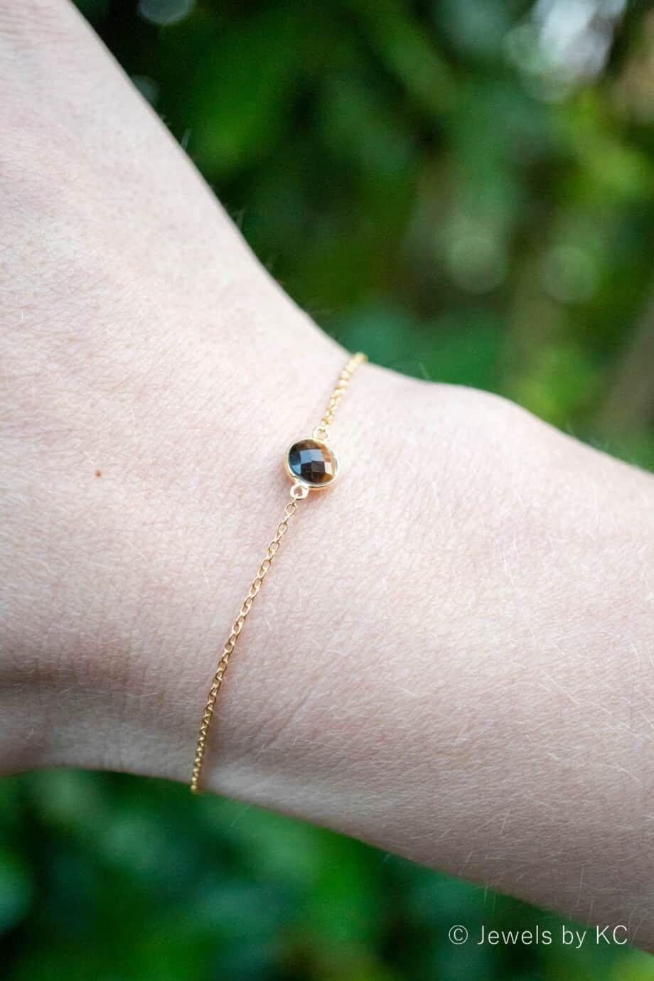 Gouden edelsteen armband bruine Tijgeroog van Goud op Zilver