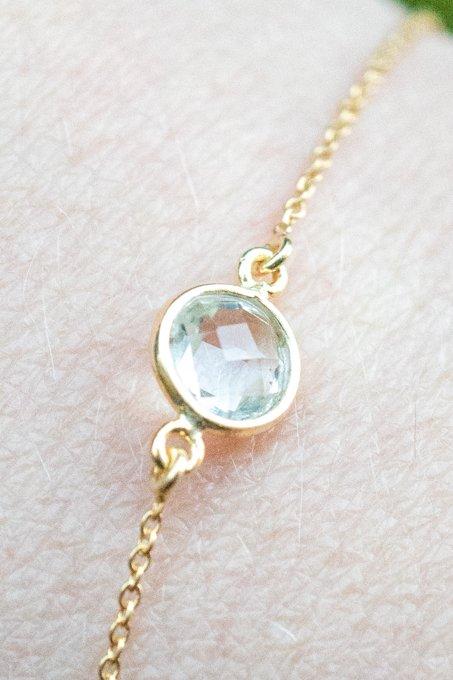 Gouden edelsteen armband groene Amethist van Goud op Zilver