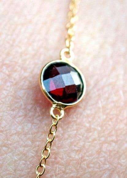 Gouden edelsteen armband rode Granaat van Goud op Zilver