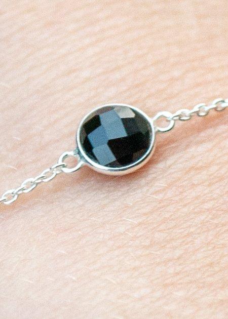 Zilveren edelsteen armband zwarte Onyx van Sterling Zilver