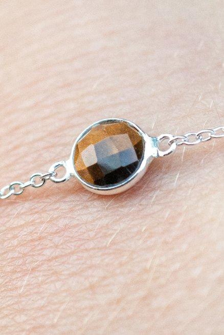 Zilveren edelsteen armband bruine Tijgeroog van Sterling Zilver