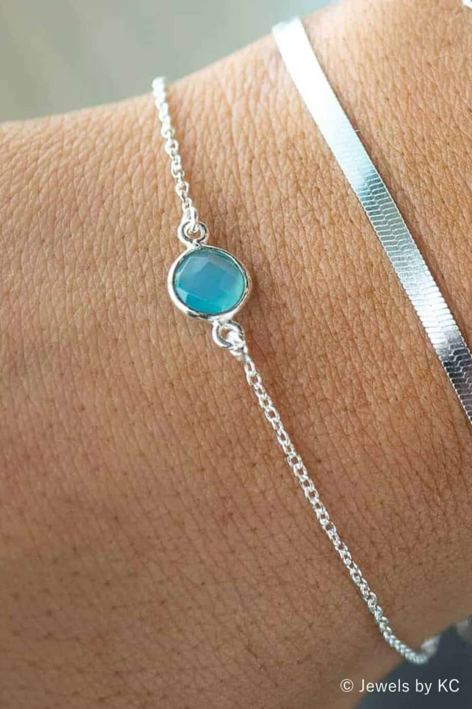 Zilveren armband met blauwe edelsteen Chalcedoon