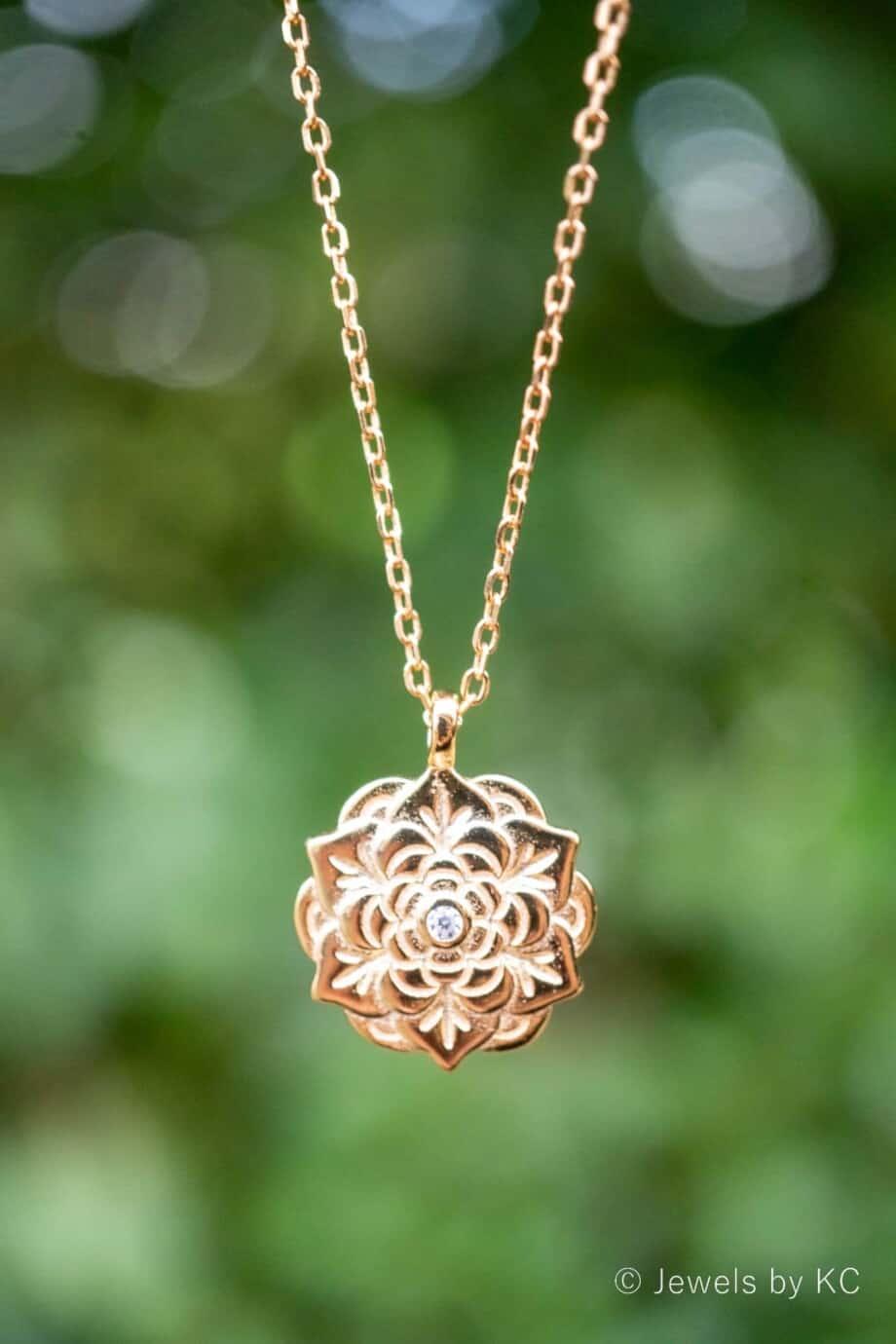 Gouden ketting 'Flower' van Goud op Zilver