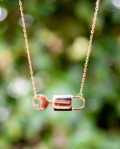 Gouden ketting met hanger 'Lock & Key' van Goud op Zilver