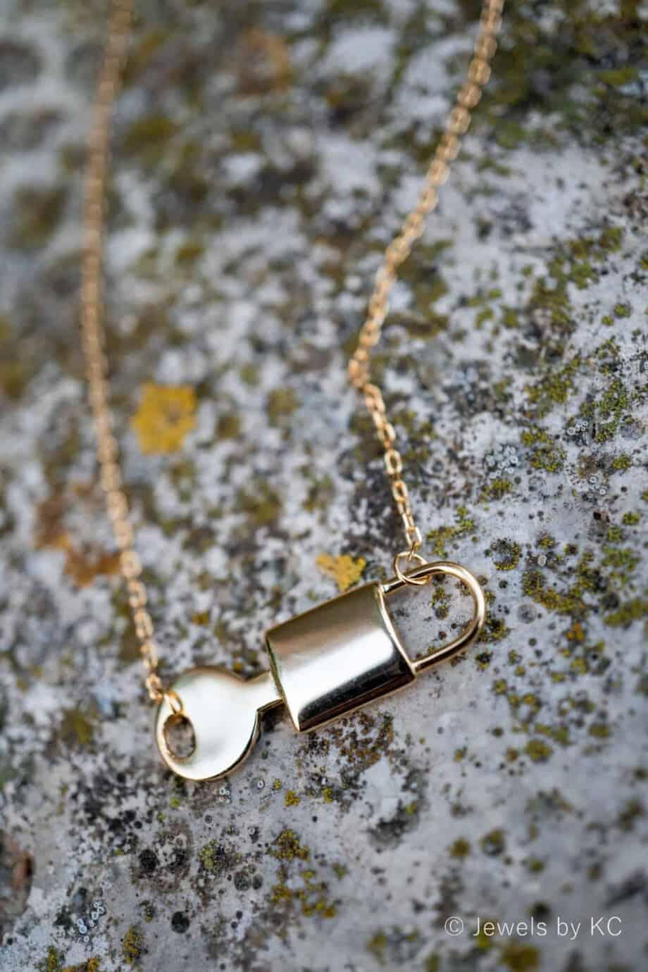 Gouden ketting 'Lock & Key' van Goud op Zilver